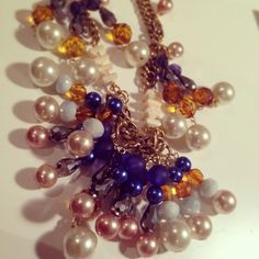 New #necklace. Faceted glass and plastic beads, glass pearls and thick gold chain. #layering #jewelry #gems #costumejewelry