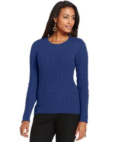 Charter Club Cable-Knit Button-Shoulder Sweater