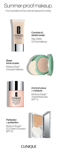 How to sweat-proof your makeup:  1. Use oil-free foundation 2. Use a powder for a matte, shine-free finish.  3. Tinted moisturizer adds a bit of color and protects against the sun's harmful rays. 4. CC Cream protects and perfects with a radiant finish.