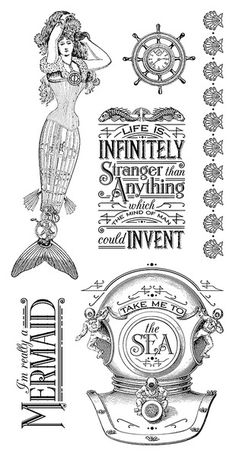 Graphic 45 - Hampton Art - Voyage Beneath the Sea Collection - Cling Mounted Rubber Stamps - One at Scrapbook.com