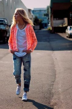 Casual style, jeans, white shoes, neon