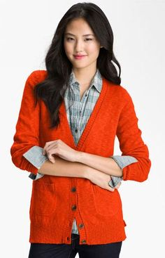 Caslon® Slub Knit Button Front Cardigan