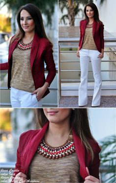 business casual, modest outfit with burgundy blazer, detailed top, and white pants Mode Outfits, Casual Outfits, Fashion Outfits, Womens Fashion, Fashion Trends, Petite Fashion, Fashion Bloggers, Curvy Fashion, Modest Fashion