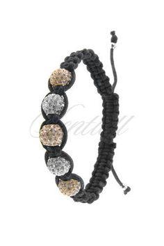 Bransoletka sznurkowa pr.925 Jasnobrązowo-biała 5 kulek - Biżuteria srebrna dla każdego tania w sklepie internetowym Rejel