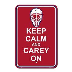 NHL - Pancarte de stationnement ou murale représentant Carey Price. Keep Calm and Carey On.