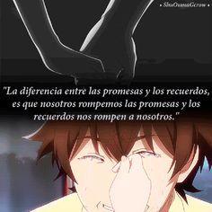La diferencia entre las promesas y los recuerdos.. #ShuOumaGcrow #Anime #Frases_anime #frases