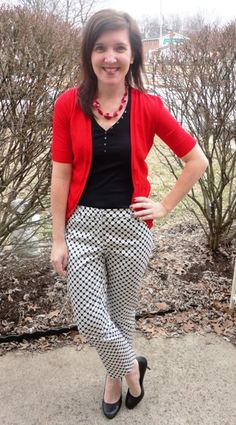 HK Style Journey Blog: Poppy red cardigan paired with black and white graphic cropped pants
