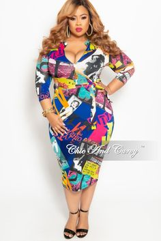 6a361c27c18 Plus Size Zip-Up Dress with Attached Tie in Royal Blue Multi – Chic And.  Chic And Curvy