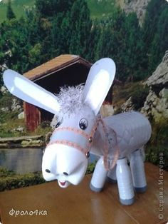 Art & Recycling: Donkey made of plastic bottles. (Pet) Art & Recycling: Donkey made of plastic bottl Tin Can Crafts, Clay Pot Crafts, Crafts For Kids, Arts And Crafts, Recycled Art Projects, Recycled Crafts, Plastic Bottle Crafts, Recycle Plastic Bottles, Plastic Animals