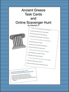 I have provided this activity to introduce students to Ancient Greece in task cards form or as an online scavenger hunt. You can choose to use either, as both have the same questions. There are 20 questions in all, divided between 7 task cards and 2 worksheets for the online scavenger hunt.Students can work cooperatively or on their own to complete either version.