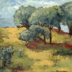 Giclee art print of painting by Susan Adame, limited edition, archival paper and inks, 15 x 15, titled Oak Trees in California  SusanAdameArt.com