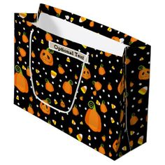 Halloween Smiley Whimsical Pumpkins Rustic Kraft Large Gift Bag - birthday diy gift present custom ideas