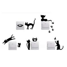1 Set of 5pcs Funny Cute Cat Mouse Fish Light Switch Wall Decal Vinyl Stickers
