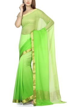 Light & Neon Green Shaded Pure Chiffon Zari Border Saree
