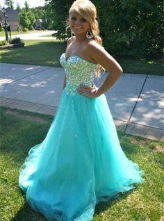 Floor Length Sweetheart Fully Beaded Bodice Corset Ball Gown Prom Dress on Luulla