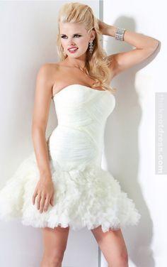 Style Sheath / Column Strapless Ruffles Sleeveless Short / Mini Chiffon White Cocktail Dress / Homecoming D White Homecoming Dresses, Prom Dress 2013, Prom Dresses Jovani, A Line Prom Dresses, Prom Dresses Online, Cheap Prom Dresses, Strapless Dress, Short Dresses, Wedding Dresses