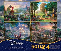 Bring your favorite Disney characters to life with the beautifully vivid Thomas Kinkade Disney Dreams Multipack Jigsaw Puzzles. Each puzzle pieces together to display a magically enchanting Disney scene in stunning color and detail. Thomas Kinkade Disney Puzzles, Disney Jigsaw Puzzles, Disney Tangled, Disney Disney, Disney Princess, Disney Tsum Tsum, Lady And The Tramp, Cool Posters, Beautiful Paintings