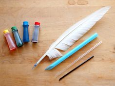 """Make """"quill pens"""" out of straws and dye paper with coffee and tea ~ nice history tie-in"""