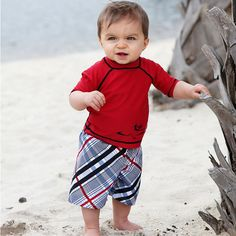 Beach Baby Swimwear Gift Set - Baby Boy Swim Trunks & Rash Guard  www.SpecialBabyShowerGifts.com