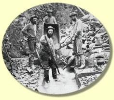 "Miners, ground sluicing on the ""Ne'er do well"" claim, Grouse Creek, 1867 Panning For Gold, Gold Miners, Fraser River, Gold Rush, Historical Pictures, Old West, History Facts, British Columbia, The Past"