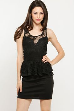 Lace Inset Peplum Dress - Cicihot.com
