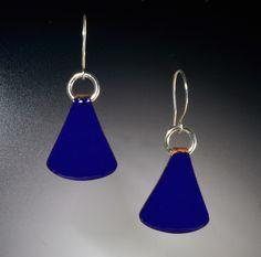 Cobalt Blue Earrings of Kiln Enameled Copper on Sterling Silver Earwires | Bracken Designs Studio Art Jewelry