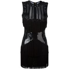 Balmain Sequined Panel Mini Dress (291,270 PHP) ❤ liked on Polyvore featuring dresses, black, short sequin cocktail dresses, short beaded cocktail dresses, short beaded dress, mini dress and embroidered dresses