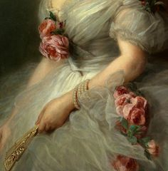 Ivan Kuzmich Makarov: Portrait Of a Lady- Vintage florals, romantic, Victorian connotations. Classic Paintings, Old Paintings, Renaissance Paintings, Renaissance Art, Aesthetic Painting, Aesthetic Art, Princess Aesthetic, Arte Popular, Victorian Art