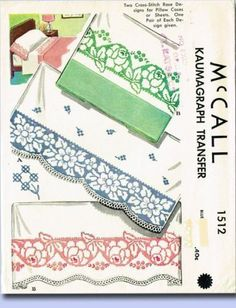 1940s Charming Cross Stitch Pillowcases Uncut McCall Embroidery Transfer | eBay