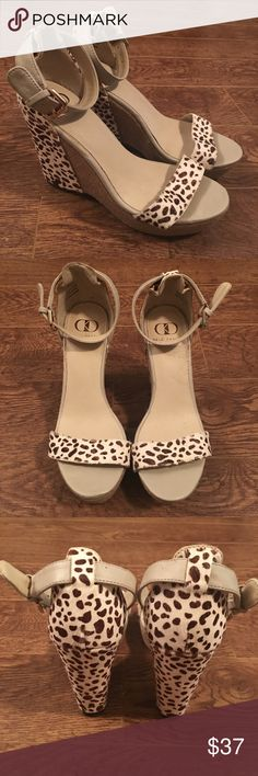 Kelsi Dagger Heels Wedges Calf hair and leather animal print Wedges by Kelsi Dagger. Kelsi Dagger Shoes Wedges