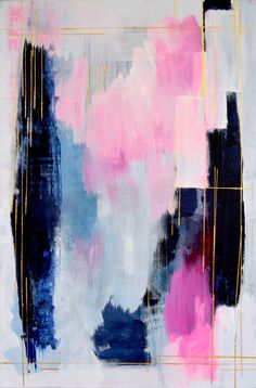Abstract pink painting original abstract art pink by MossAndBlue