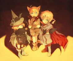 Hetalia- Canada, America, and England Trick or Treating. X3