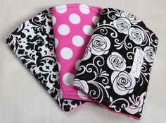 Set of 3 Black and Damask, Polka Dot, and Rose Print Minky and Cotton Burp Cloths on Etsy, $27.00