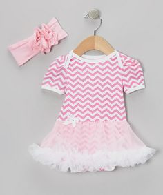 Take a look at this Pink Zigzag Skirted Bodysuit & Headband - Infant by Baby Gem by Royal Gem Clothing on #zulily today!