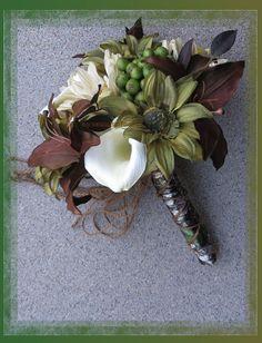 Mossy Oak Break Up Wedding Bouquet Set by BridalBouquets on Etsy, $253.00