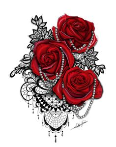 rose and lace tattoo with pearls