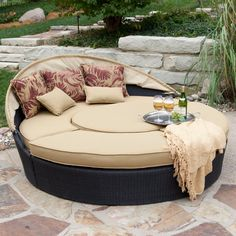 Rioja All-Weather Wicker Sectional Daybed - Patio Chairs at Patio Furniture USA