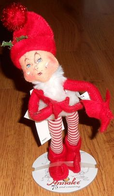 """Annalee Christmas Holiday 9"""" Red Elf with Leggings Posable 737204 2004 #Annalee #Dolls"""