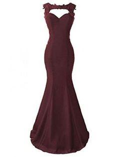 Burgundy Applique Long Mermaid Prom Dresses Evening Dresses