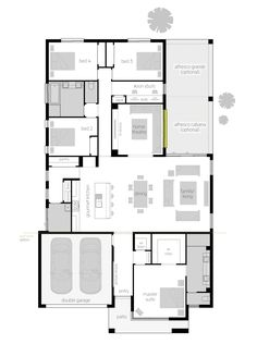 An option for living across the middle of house