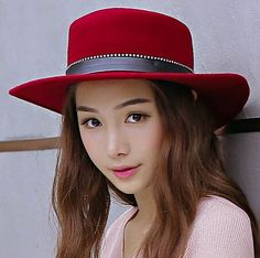 55d5ac76f89 Rhinestone boater hat for women fashion wool felt hats autumn