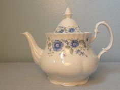 Royal Albert Meadowcroft Blue Floral Teapot Bone China Made in England | eBay