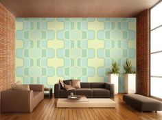 mural Retropattern pastel green KT109 size: 165.3 x 106.3 inches (420cm x 270cm) Retro pattern wallpaper green: Amazon.co.uk: Kitchen & Home