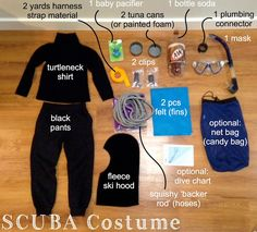 Scuba diver costume tutorial for adults and kids Shark Costumes, Diy Costumes, Modest Costumes, Adult Costumes, Costumes For Women, Costume Ideas, Halloween Crafts, Family Halloween, Fairy Halloween Costumes