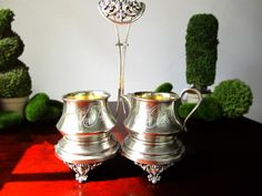 Antique Forbes Creamer Sugar Bowl Caddy Silver Plate Sugar Bowl Creamer Late 1800's by InventifDesigns on Etsy