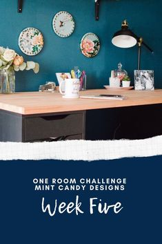 One of my favourite things about room makeovers is the styling process. I love picking out accent colours, and arranging decor Home Office Shelves, Mint Candy, Challenge Week, Home Office Design, Diy On A Budget, Home Goods, Sweet Home, New Homes, Challenges