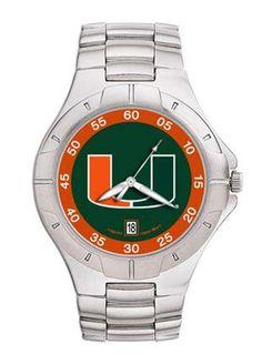 Miami Hurricanes 'UM' NCAA Men's Pro II Watch with Stainless Steel Bracelet