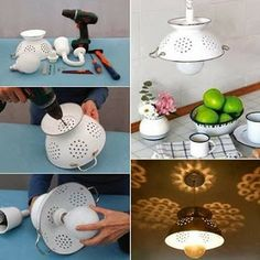 colander light http://www.shelterness.com/diy-pendant-lamp-of-enameled-colander/