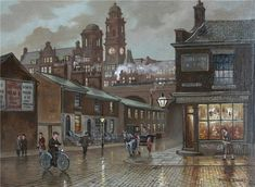 """Steven Scholes is an artist who produces wonderfully nostalgic unique paintings perfect for Friday Evening. Unique Paintings, Beautiful Paintings, Edwardian Architecture, Architecture Design, Building Art, Landscape Drawings, Urban Life, Urban Landscape, New Art"