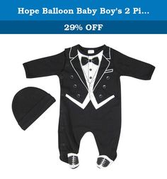 "Hope Balloon Baby Boys 2 Piece Tuxedo Sleeper With Matching Hat 9 Months Black. Baby-Boys 2 Piece Tuxedo Sleeper with Matching Hat Ideal for all special occasions Sunday Mass, Christmas Mass, weddings, celebrations.. %100 Cotton for your babys comfort Could also be an excellent gift set for a newborn. Measurements of different sizes: 9-12 months: Bodysuit (shoulder to crotch) : 17.5"" 6 months: Bodysuit (shoulder to crotch) : 16"" 0-3 months: Bodysuit (shoulder to crotch) : 14"" 100% Cotton..."